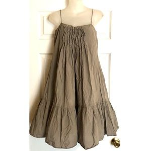 Gap Taupe Cotton Halter Dress with Ruffled Bodice